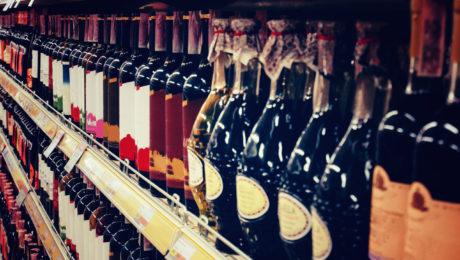 Wine bottles in shop
